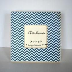 Navy Blue Chevron Picture Frame